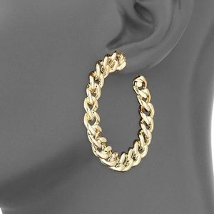 NEW Kenneth Jay Lane Gold Chainlink Hoops